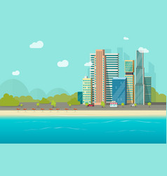 big city near ocean beach vector image