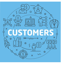 blue line flat circle customers vector image