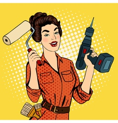 Girl with Roller Brush and Drill Doing Repairs vector image