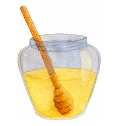 hand drawn watercolor honey jar isolated vector image vector image
