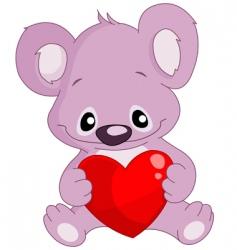 koala holding a heart vector image vector image