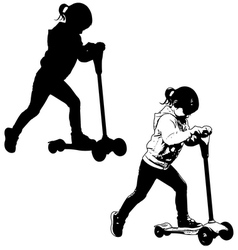 little girl riding micro scooter vector image