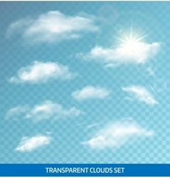 Set of realistic transparent clouds vector image vector image