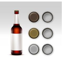 Closed blank glass brown bottle of dark red beer vector