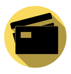 credit card sign flat black icon with vector image