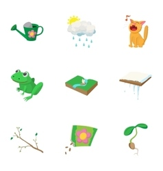 Season of year spring icons set cartoon style vector image vector image