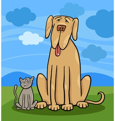 small cat and big dog cartoon vector image vector image