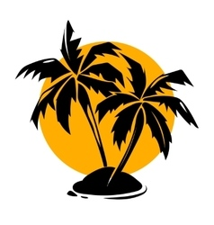 Tropical paradise palm trees and sun logo vector image vector image