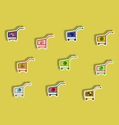 Flat icons set of business pie chart on trolley vector