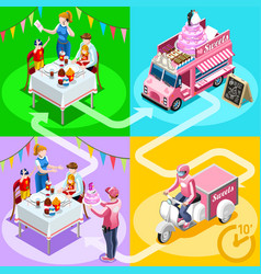 food truck birthday cake home delivery isometric vector image vector image