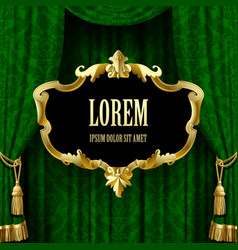 green curtain with a gold decorative baroque frame vector image vector image