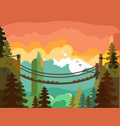 suspension bridge in jungle design flat vector image