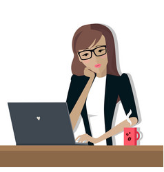 business woman works on his laptop vector image