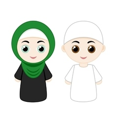 Cartoon muslim couple vector image