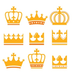 Crown royal family gold icons set vector image