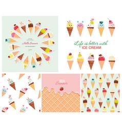 ice cream big set seamless patterns templates vector image