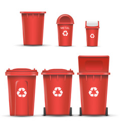 Red recycling bin bucket for metal trash vector