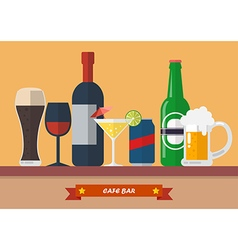Set of drink bar flat icon vector image vector image