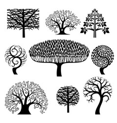 set silhouettes of trees vector image
