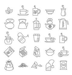 thin line tea icon set vector image vector image