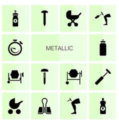 14 metallic icons vector