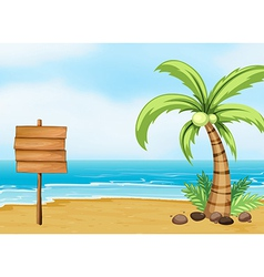 A coconut tree and an empty board at the beach vector image