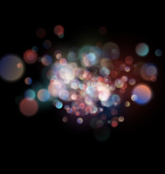 abstract defocused circular color bokeh on dark vector image