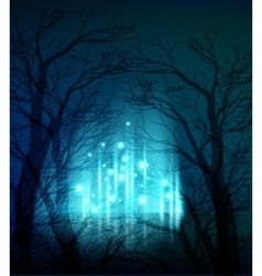 Abstract dramatic night tree vector