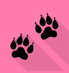 Animal tracks sign black icon with flat style vector