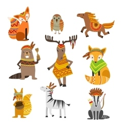 Animals Wearing Tribal Clothing Collection vector