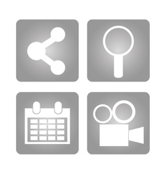 Apps inside frames and social media design vector