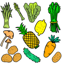 Art of vegetable object doodles vector