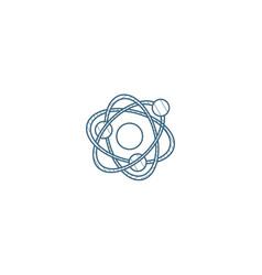 Atom physic symbol isometric icon 3d line art vector