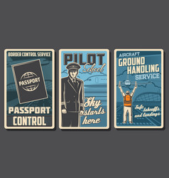 Aviation passenger airlines retro posters vector