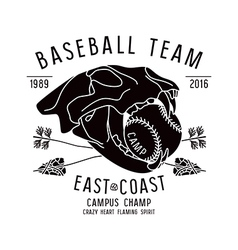 Baseball team emblem skull animal vector