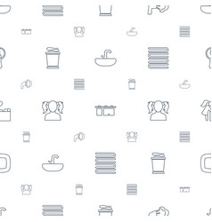bathroom icons pattern seamless white background vector image