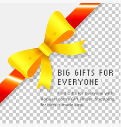 big gift for everyone ribbon bow and text banner vector image