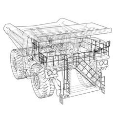 Big truck outlined rendering of 3d vector