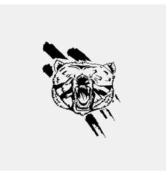 Black and white bear head emblem symbol logotype vector