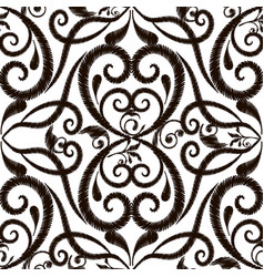 black and white embroidery damask seamless vector image
