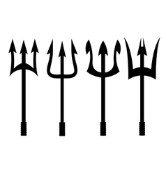 black trident icons set vector image
