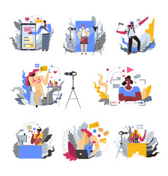 Blogger profession or hobisolated icons mobile vector