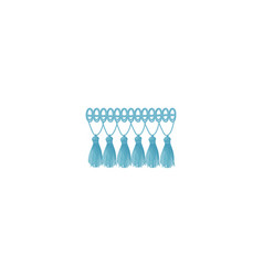 Blue braid with a tassels on long threads vector