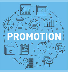Blue line flat circle promotion vector