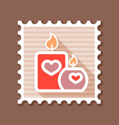 burning candle with hearts stamp vector image