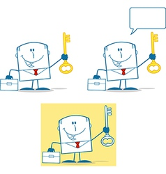 Cartoon business man happy vector