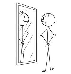 cartoon of sad man looking at himself in the vector image