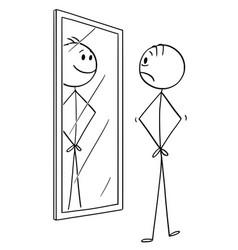 Cartoon of sad man looking at himself in the vector