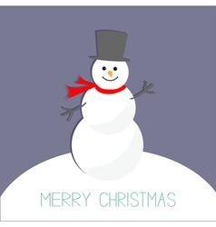 Cartoon Snowman on snowdrift Violet background vector