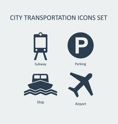 City transportation silhouette icons set vector